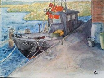 Fischkutter im HAfen von Gager (c) Aquarell von Marina Erfurth