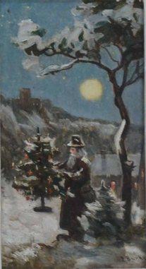 Franz Bunke Weihnachten (1926), im Format 21 x 12 cm, Öl auf Zigarrenkistendeckel - wikimedia
