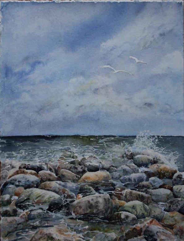 Geschichtenerzähler (c) Aquarell mit Ostseesteinen von Hanka Koebsch