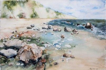 Gezeichnet von Meer und Wind (c) ein Aquarell gemalt von Hanka Koebsch