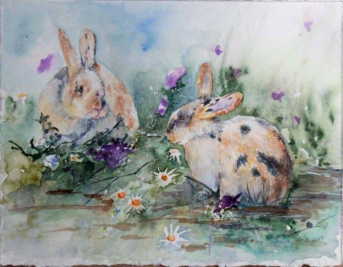Hallo Hase (c) ein Kaninchen Aquarell von Hanka Koebsch