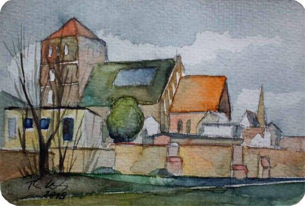 Nikolaikirche Rostock (c) Miniatur in Aquarell von Frank Koebsch