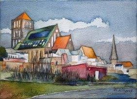 Rostocker Nikolaikirche © Aquarell auf einem Zigarrenkistenbrett von Frank Koebsch