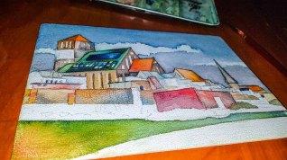 Stück für Stück gestalte ich die Flächen für das Aquarell - Rostocker Nikolai Kirche (c) Frank Koebsch (1)