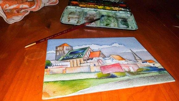 Stück für Stück gestalte ich die Flächen für das Aquarell - Rostocker Nikolai Kirche (c) Frank Koebsch (2)