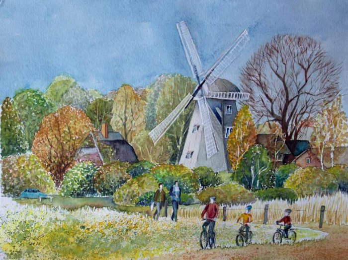 Frühling an der Ahrenshooper Mühle (c) Aquarell von FRank Koebsch