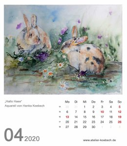 Kalenderblatt April 2020 für den Kalender mit Aquarellen von Hanka & Frank Koebsch