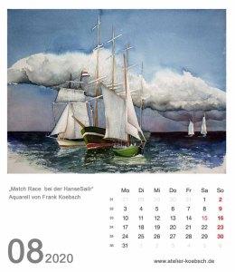 Kalenderblatt August 2020 für den Kalender mit Aquarellen von Hanka & Frank Koebsch