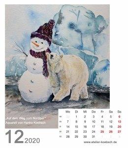 Kalenderblatt Dezember 2020 für den Kalender mit Aquarellen von Hanka & Frank Koebsch