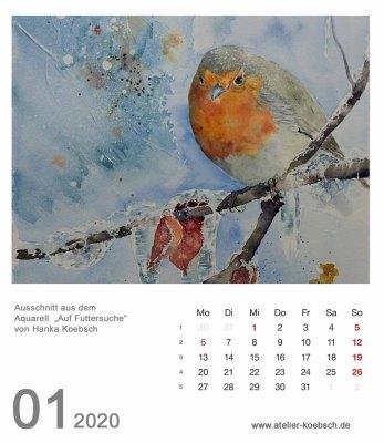 Kalenderblatt Januar 2020 für den Kalender mit Aquarellen von Hanka & Frank Koebsch