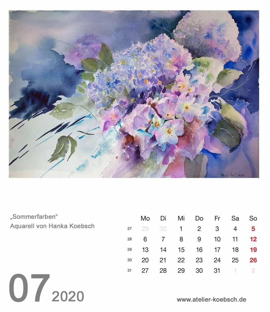 Kalenderblatt Juli 2020 für den Kalender mit Aquarellen von Hanka & Frank Koebsch