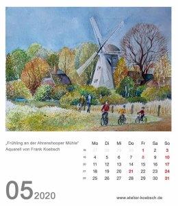 Kalenderblatt Mai 2020. für den Kalender mit Aquarellen von Hanka & Frank Koebsch