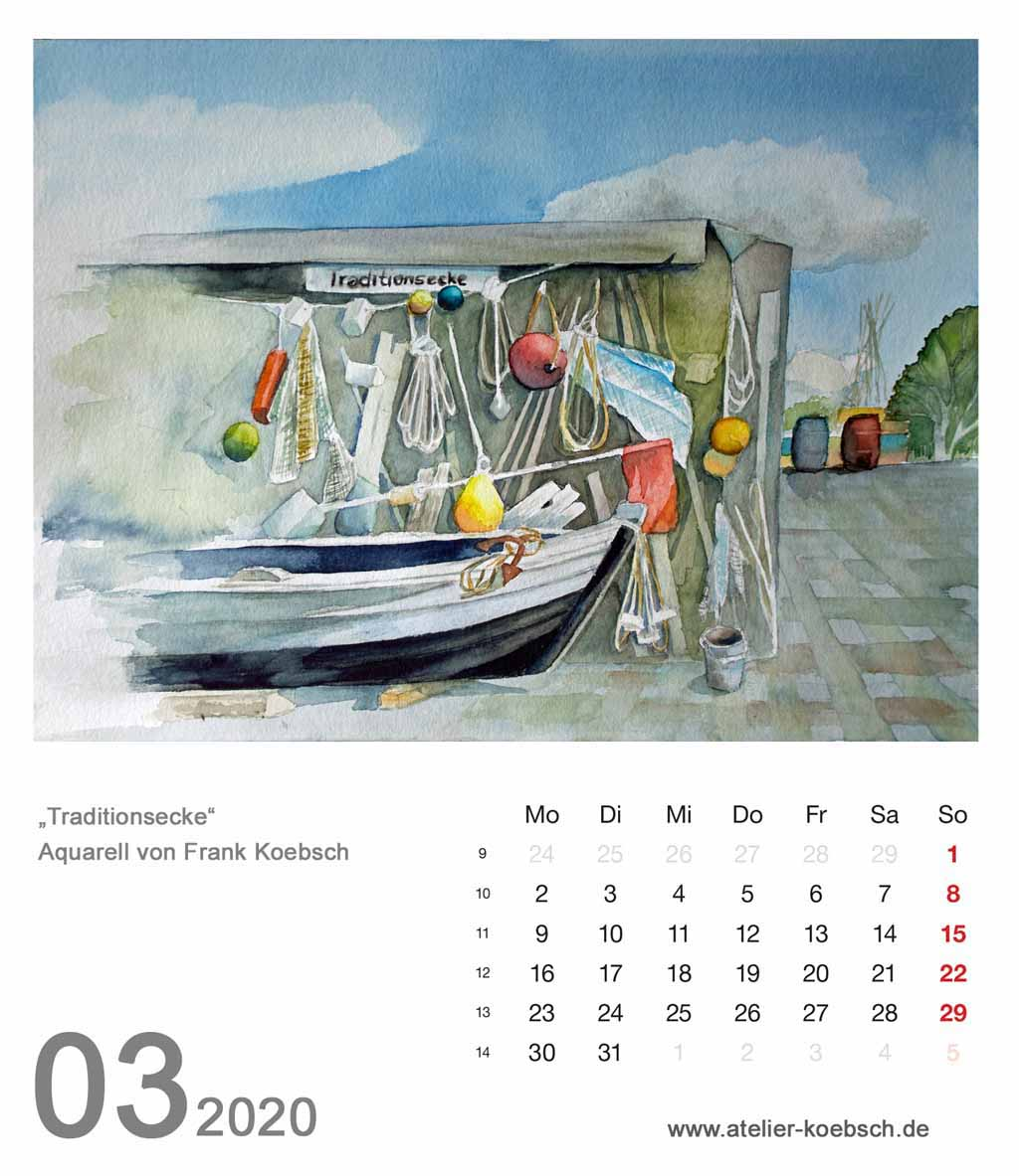 Kalenderblatt März 2020 für den Kalender mit Aquarellen von Hanka & Frank Koebsch