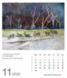 Kalenderblatt November 2020 für den Kalender mit Aquarellen von Hanka & Frank Koebsch