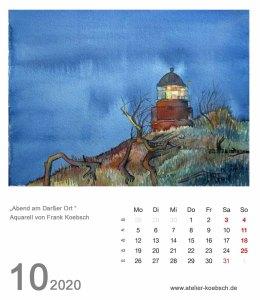 Kalenderblatt Oktober 2020 für den Kalender mit Aquarellen von Hanka & Frank Koebsch