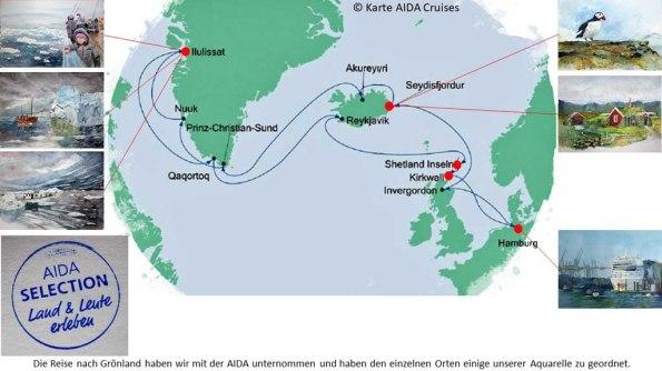 Karte der Kreuzfahrt Grönland – Island mit der AIDAcara, Grönland - Diskobucht (3) – Karte AIDA Cruises – Aquarelle Hanka & Frank Koebsch
