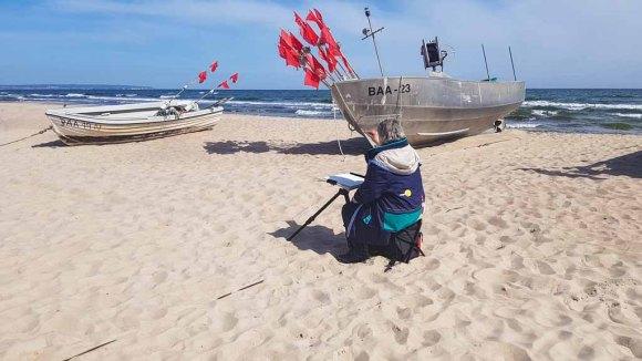 Malen am Strand von Baabe - Malreise Faszination Rügen (c) FRank Koebsch (2)