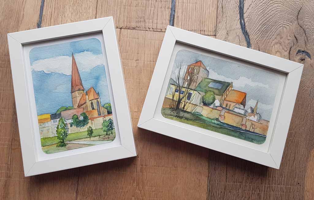 Rostocker Kirchen als Miniatur in Aquarell