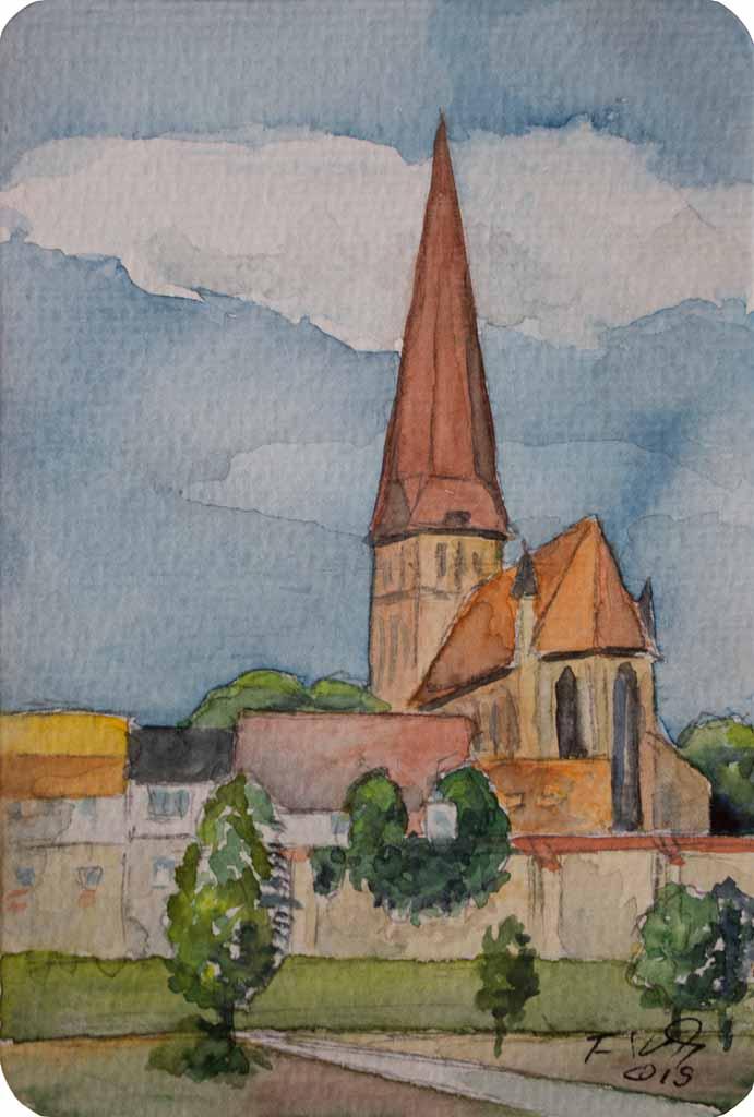 Rostocker Petrikirche (c) Miniatur in Aquarell von FRank Koebsch k
