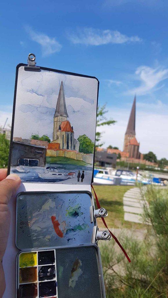 Urban Sketching bei Petri Kirche Rostock (c) Frank Koebsch (1)