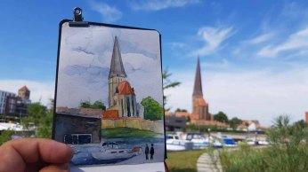 Urban Sketching bei Petri Kirche Rostock (c) Frank Koebsch (2)