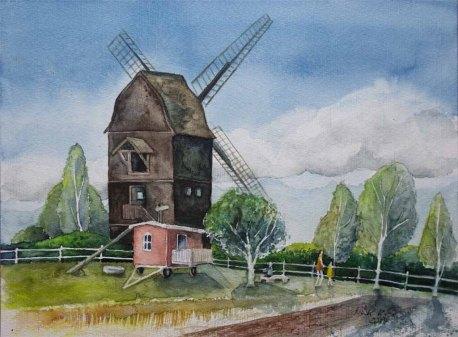 Bockwindmühle im Freilichtmuseum Klockenhagen (c) Aquarell von FRank Koebsch