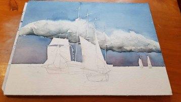 Das Aquarell - Match Race bei der HanseSail - lebt durch einen dramatischen Himmel (c) Frank Koebsch