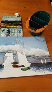 Das Aquarell - Match Race bei der HanseSail - passend zum Himmel braucht das Bild Kontraste in der Ostsee und bei Schifen (c) FRank Koebsch (1)