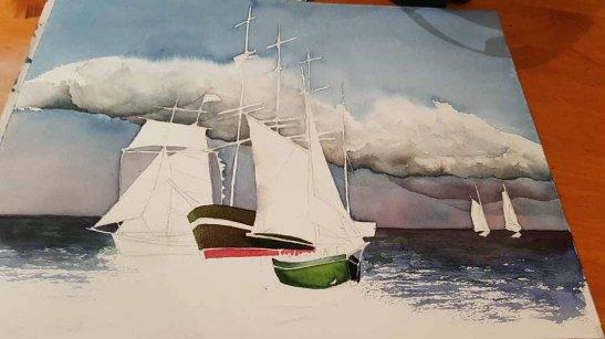 Das Aquarell - Match Race bei der HanseSail - passend zum Himmel braucht das Bild Kontraste in der Ostsee und bei Schifen (c) FRank Koebsch (2)
