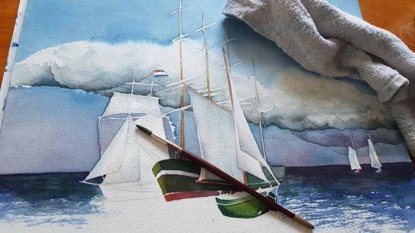 Das Aquarell - Match Race bei der HanseSail - passend zum Himmel braucht das Bild Kontraste in der Ostsee und bei Schifen (c) FRank Koebsch (3)