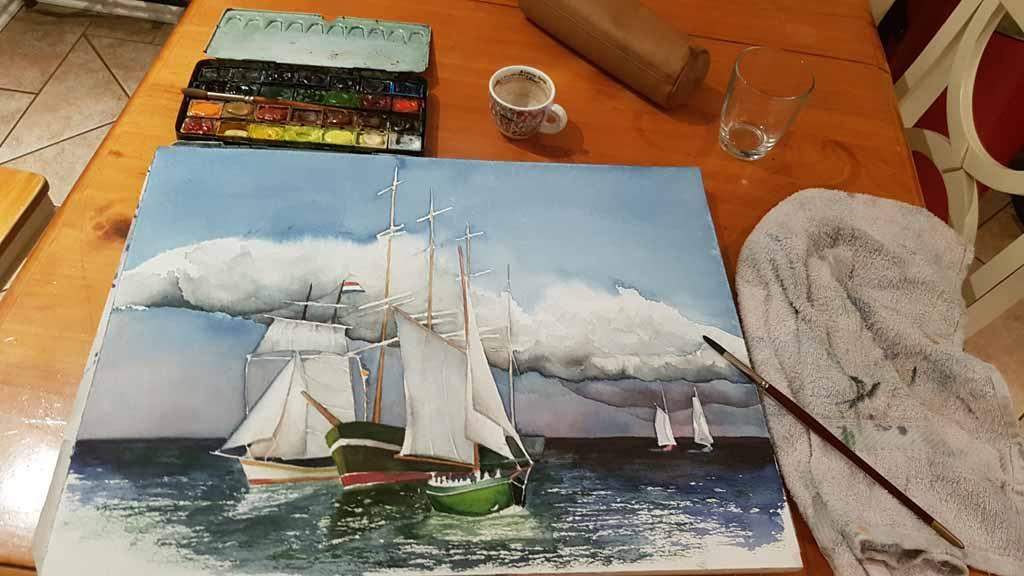 Das Aquarell - Match Race bei der HanseSail - passend zum Himmel braucht das Bild Kontraste in der Ostsee und bei Schifen (c) FRank Koebsch (4)