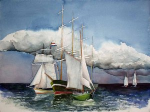 Match Race bei der HanseSail (c) Aquarell von Frank Koebsch
