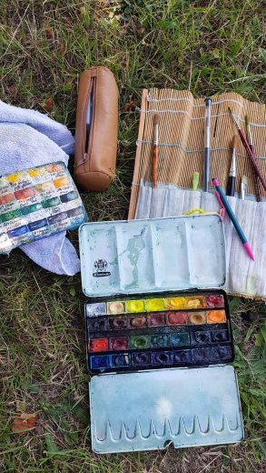 Mein Malzeug - Aquarellkasten und einige Pinsel (c) Frank Koebsch