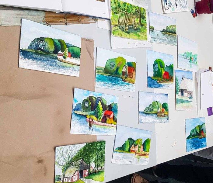 Aquarelle auf Zigarrenkistenbrettern als Ergebnis des Workshops im Staatlichen Museum Schwerin (c) Frank Koebsch