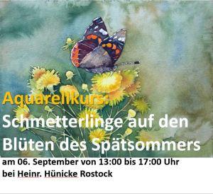 Aquarellkurs : Schmetterlinge auf Blüten des Spätsommers