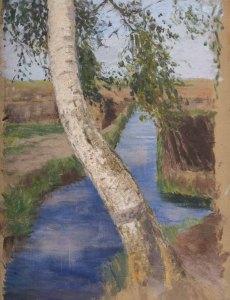 Hermine Overbeck-Rothe, Birkenstamm über Torfkanal, Overbeck Museum