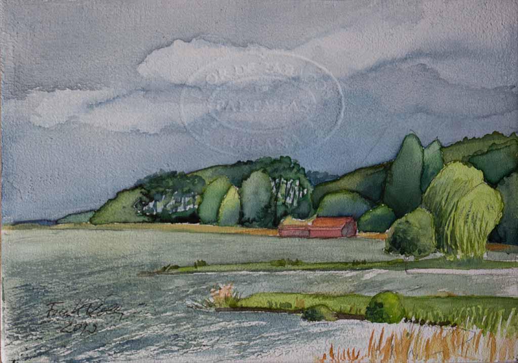 Schweriner See bei Mueß (c) Aquarell auf einem Zigarrenkistenbrett von Frank Koebsch