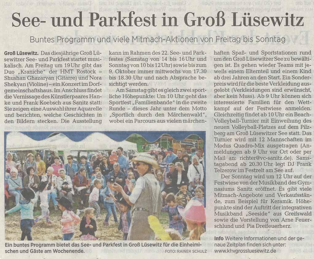 See- und Parkfest in Groß Lüsewitz - Ostsee Zeitung 2019 09 04