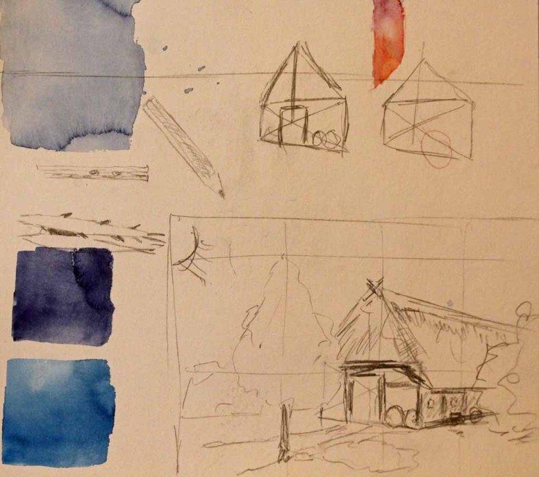 Skizze eines Hallenhaues im Freilichtmuseum Schwerin (c) Frank Koebsch