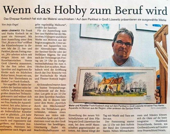 Wenn das Hobby zum Beruf wird - NNN 2019 09 02 über die Ausstellung in Groß Lüsewitz