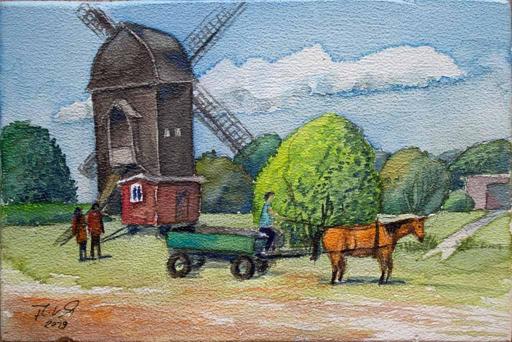 Museumsbetrieb bei der Blockwindmühle Klockenhagen (c) Aquarell auf einem ZIgarrenkistenbrett von Frank Koebsch