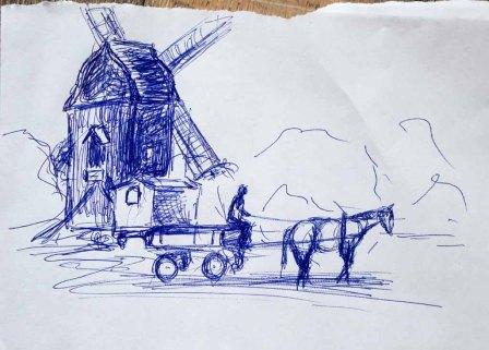 Skizze für das Aquarell -Museumsbetrieb bei der Blockwindmühle Klockenhagen - von Frank Koebsch