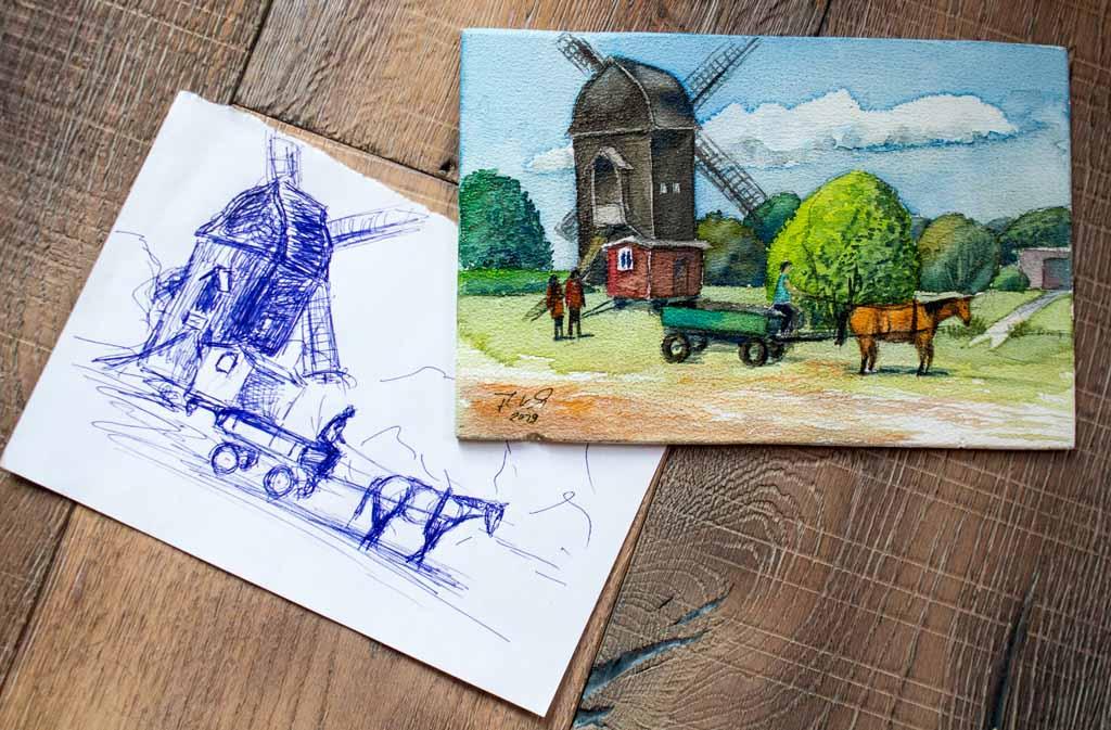 Skizze und Aquarell - Museumsbetrieb bei der Blockwindmühle Klockenhagen - von Frank Koebsch