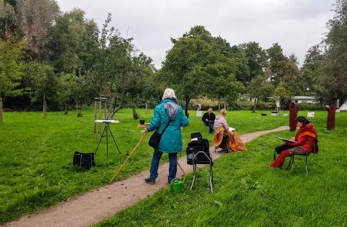 Aquarellkurs im Park hinter dem Kunstmuseum Schwaan (c) Frank Koebsch (2)