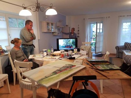 Malreise Rügen - Bei Regen malen wir den Rasenden Roland in der Ferienwohnung to Hus (c) Elke Cappallo (1)