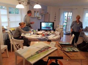Malreise Rügen - Bei Regen malen wir den Rasenden Roland in der Ferienwohnung to Hus (c) Elke Cappallo (2)