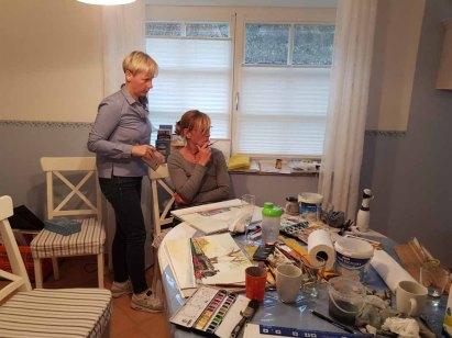 Malreise Rügen - Bei Regen malen wir den Rasenden Roland in der Ferienwohnung to Hus (c) Elke Cappallo (3)
