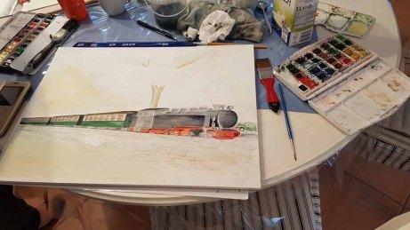 Malreise Rügen - Bei Regen malen wir den Rasenden Roland in der Ferienwohnung to Hus (c) Frank Koebsch (4)