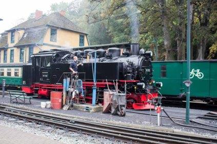 Rasender Roland bei Wassertanken auf dem Bahnhof Göhren (c) FRank KOebsch (2)
