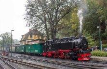 Rasender Roland kurz vor der Ausfahrt aus dem Bahnhof Göhren (c) Frank Koebsch